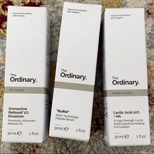 The Ordinary retinoid, lactic acid, buffet